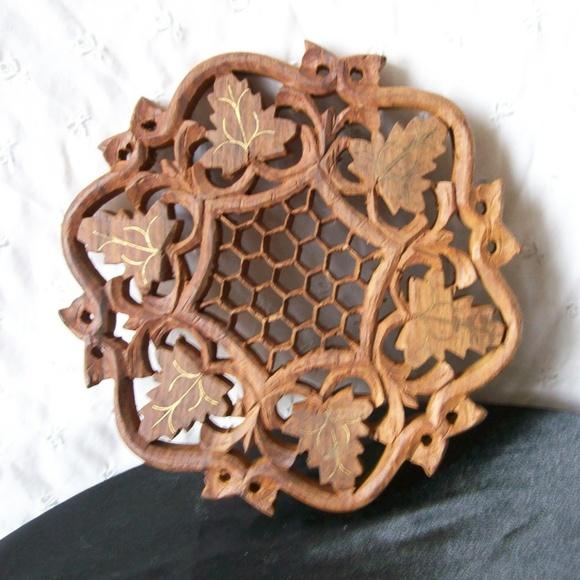 Vintage Other - Vintage Hand Carved Wooden Trivet made in India